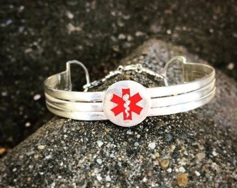 BLACK FRIDAY SALE - Sterling Silver 3-Tier Medical Alert Clasped Cuff - Personalized Custom - Medical Condition - 3 lines of text - Unusual