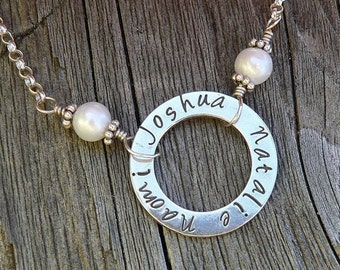 Solid Sterling Silver Circle Necklace Washer Necklace with Freshwater Pearls - Custom - Many Font Choices - Your Names or Message Words