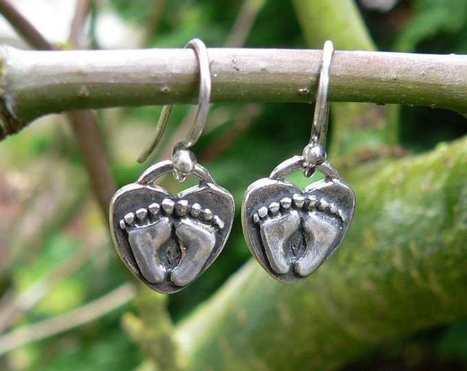 For Love of a Newborn Solid Sterling Silver Pregnancy Earrings - Birth, Baby, Mom, Midwife Gift, Doctor Gift, Choose Ear Wire or Leverback