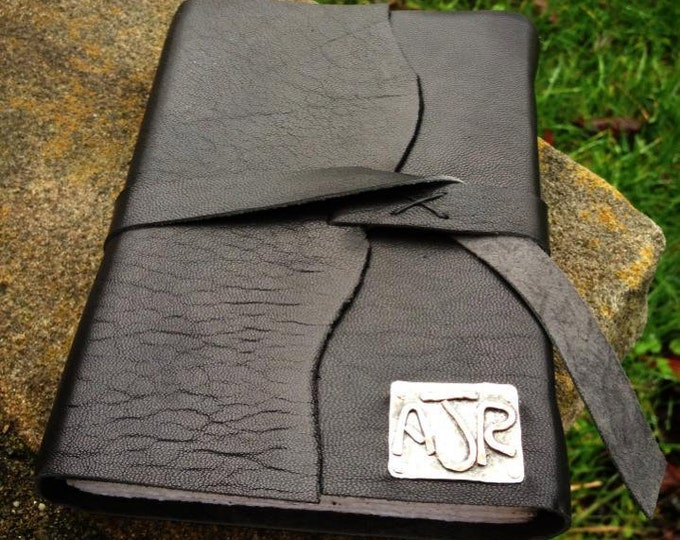 Rustic Leather Hand-Bound Journal - Customized in Sterling or Copper