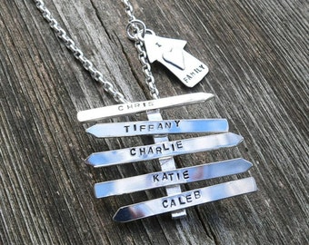 Family Signpost Pendant - Artisan Custom sterling silver necklace - Choose your own message or names or words - Guidance - Sign - Unique
