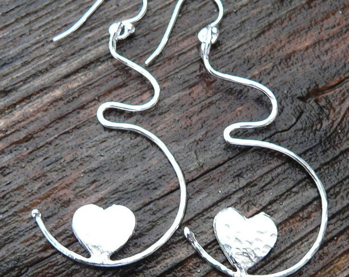 Growing Love Solid Sterling Silver Pregnancy Earrings - Birth, Baby, Mom, Newborn, Midwife Gift, Doctor Gift, Choose Ear Wire or Leverback