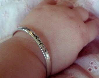 BLACK FRIDAY SALE - Custom Sterling Silver Baby Cuff - Classic Baby Bracelet - Rounded edges - Your own Message!  You Personalize with Font