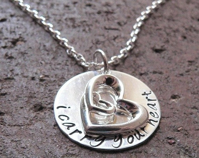 BLACK FRIDAY SALE - I Carry Your Heart ... customizable personalized solid sterling silver necklace ... memorial, remembrance, memoriam, Cho
