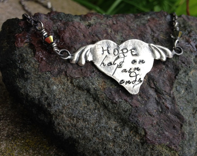 Unique Sterling Silver HOPE Pendant - Heart with Wings