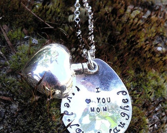 Custom Artisan Sterling Silver Remembrance or Loss Necklace Vessel Urn - Memorial Jewelry - Ashes Holder - Font Choices - Your Message