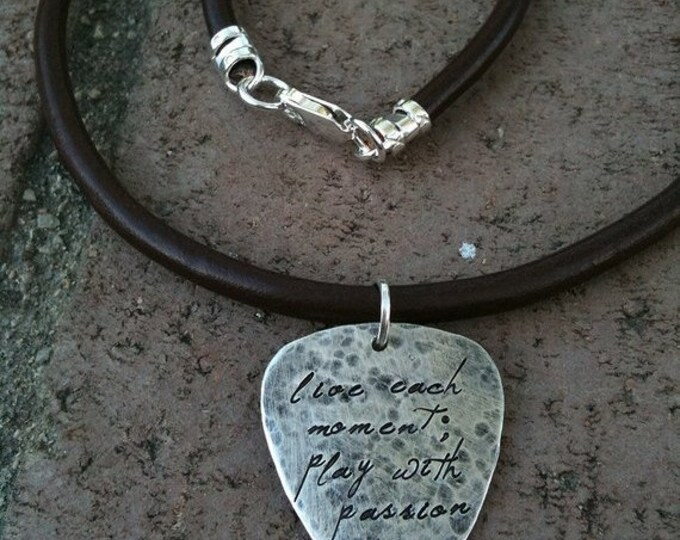 BLACK FRIDAY SALE - Hand-finished Solid Sterling Silver Guitar Pick - playable - Choice of Fonts, Finishes - Your Own Message. Necklace