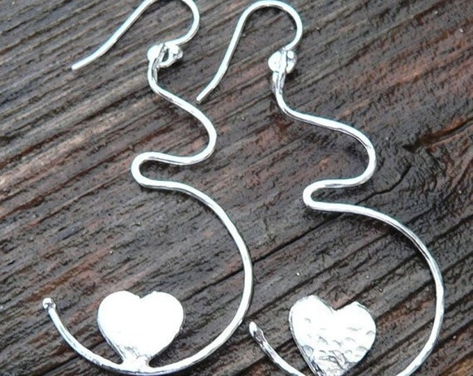 BLACK FRIDAY SALE - Growing Love Solid Sterling Silver Pregnancy Earrings - Birth, Baby, Mom, Newborn, Midwife Gift, Doctor Gift, Choose Ear