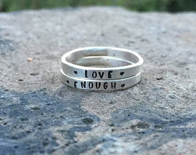 BLACK FRIDAY SALE - Custom Hand Stamped Posey Ring Solid Sterling Silver Stackable Stacking Stackable Message Words - Inside Or Outside - Ch