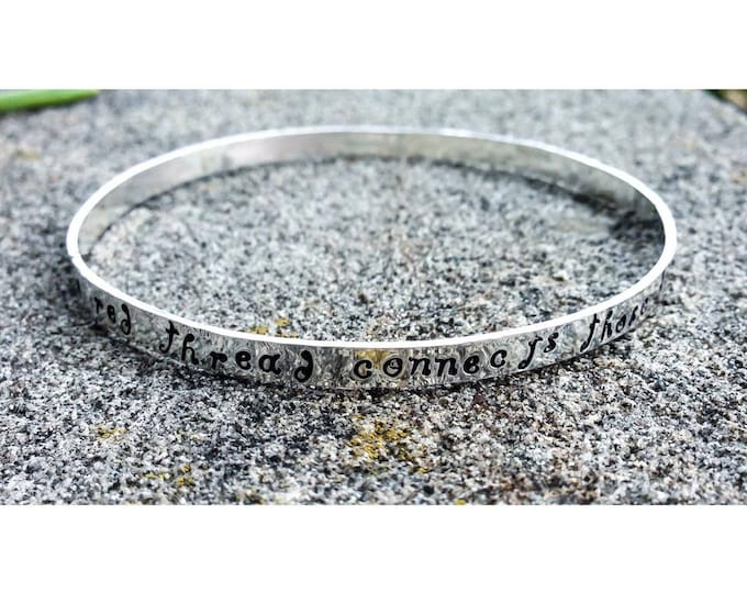 Solid Hand-Forged Sterling Silver Bangle Bracelet - Personalized Inside or Outside - Choice of Many Fonts and Finishes - Personal Message