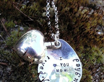 BLACK FRIDAY SALE - Custom Artisan Sterling Silver Remembrance or Loss Necklace Vessel Urn - Memorial Jewelry - Ashes Holder - Font Choices