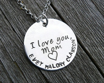 We Love You Mom Grandma Mama Mommy... Artisan Custom Sterling Silver Necklace - Fully Customizable - Choose Fonts & Message - Up to 10 Names