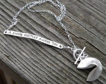 Custom Stamped Solid Sterling Silver Fortune Cookie Locket Necklace - Unique gift - Choice of Fonts - Your own Message - Front Toggle Clasp