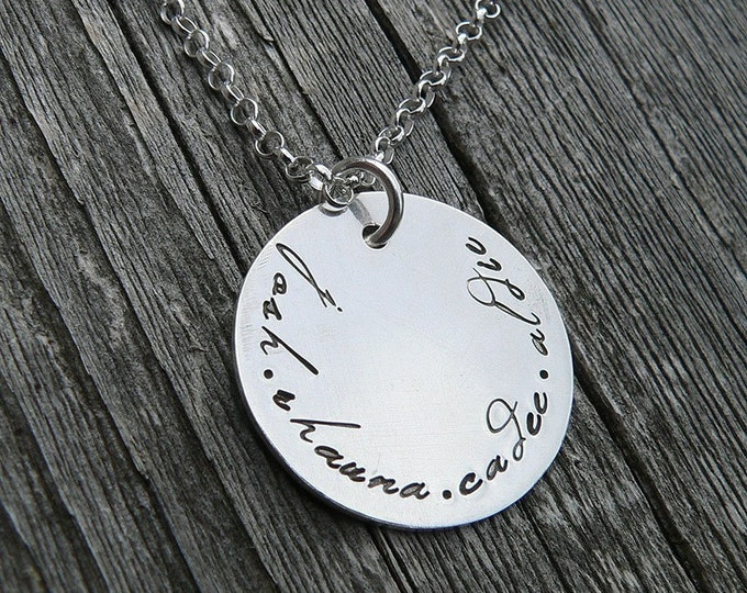 Family Pendant, Solid Sterling Silver, Custom and Personalized on Both Sides, Choose your Font and Style, Finish.  Name, Names, Hand Stamped