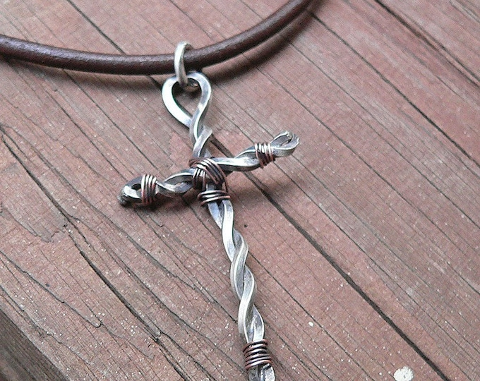 Hand-Forged Cross - Mens Necklace