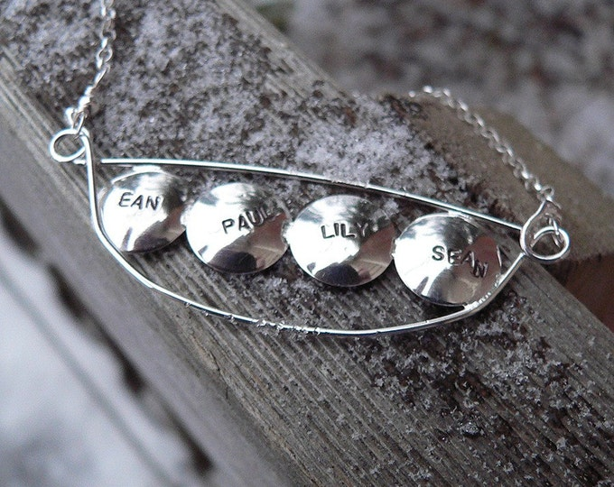 Personalized Peapod Name or Word Necklace - Choose 1-5 Peas - Wonderful for Mothers or Grandmothers - Solid Sterling Silver Handmade Stamped