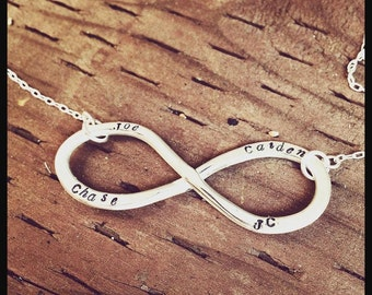 Show Your Love -  Hand Stamped Sterling Silver Custom Infinity Necklace - Infinity Pendant with Names - Words - Dates