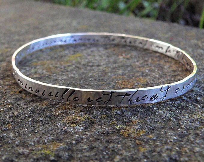 An Invisible Red Thread - a Solid Sterling Silver Adoption Bangle - Hand Stamped Inside and Outside - Customizable - Personalize with Charm