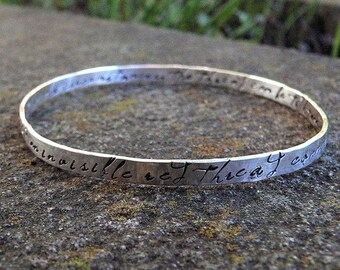 LIMITED TIME SALE An Invisible Red Thread - a Solid Sterling Silver Adoption Bangle - Hand Stamped Inside and Outside - Customizable - Perso