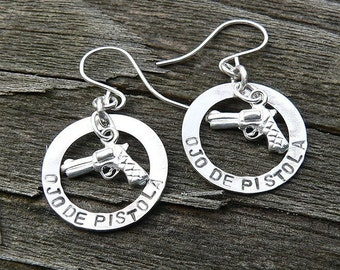 Ojo De Pistola Earrings - Solid Sterling Silver - Choice of Earwire or Leverback - Fun Gift Item