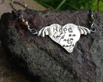 LIMITED TIME SALE Unique Sterling Silver Hope Pendant - Heart with Wings