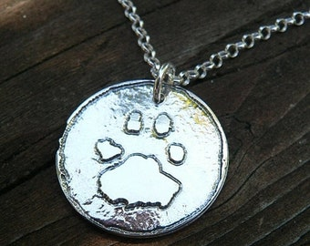 LIMITED TIME SALE Solid Sterling Silver or Copper Round Pendant Custom Actual Handprint likeness Necklace Hand Print Foot Print Paw Print Fo
