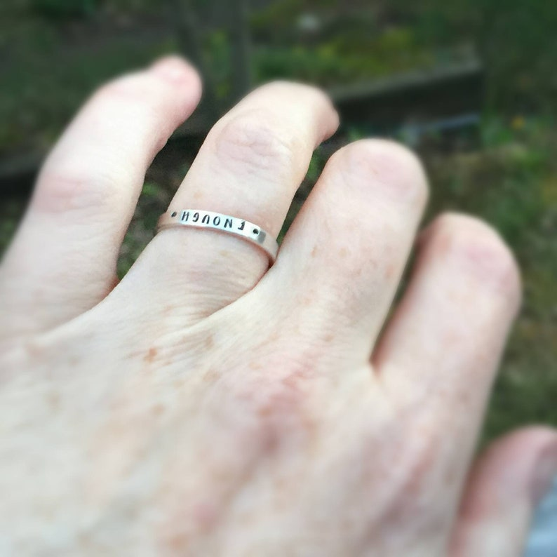 Custom Hand Stamped Posey Ring Solid Sterling Silver Stackable image 0