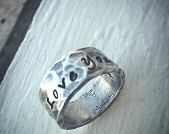 LIMITED TIME SALE Custom Hand Stamped Extra Wide Ring - Solid Hand-Forged Sterling Silver - Customizable - Your Message - Inside And Outside
