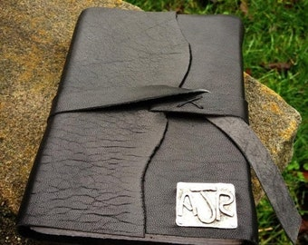 LIMITED TIME SALE Rustic Leather Hand-Bound Journal - Customized in Sterling & Copper
