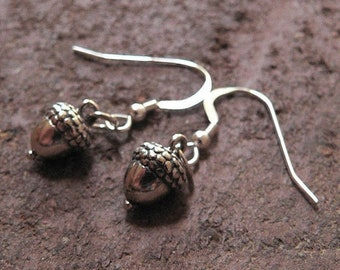 LIMITED TIME SALE Detailed Acorn Earrings - Solid Sterling Silver - Choice of Ear Wire, Leverback or Posts - Versatile Woodland Theme Gift