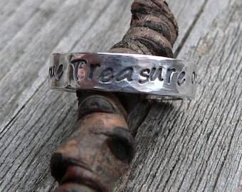 Custom Hand Stamped thick Ring - Solid Hand-Forged Sterling Silver - Customizable - Your Message - Inside and/or Outside - Choice of Font
