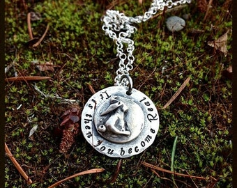 LIMITED TIME SALE Then you become Real - Velveteen Rabbit Mother's Necklace - Solid Sterling Silver - Mothers Moms Graduate Meaningful Gift