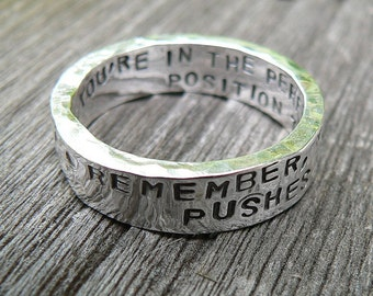 Custom Hand Stamped thick Ring - Solid Hand-Forged Sterling Silver - Customizable - Your Message - Inside AND Outside - Choice of Font