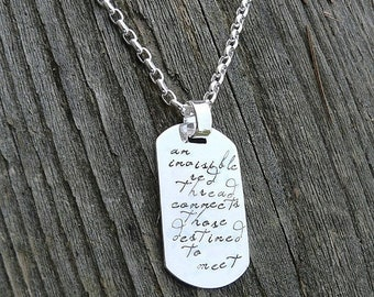 LIMITED TIME SALE Custom Thick Sterling Silver Men's Dog Tag (Dogtag) Adoption Necklace Personalize with your own sentiment or use ours - ma