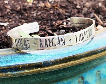 Hammered Sterling Silver Classic Cuff - Personalized for Men Your Message, Words, Dates, Symbols - Rustic Thick Stamped on both sides