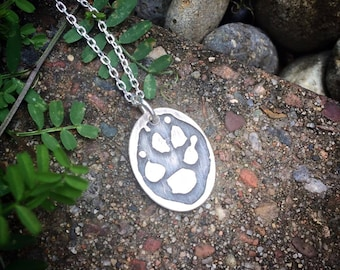 Solid Sterling Oval Charm Pendant Customized  Actual Handprint likeness - Footprint too - Hand Print Foot Print Paw Print Footprint Pawprint