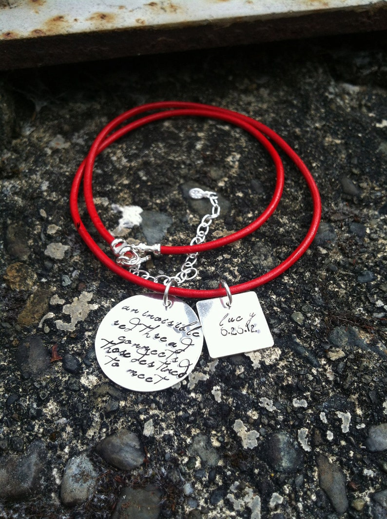 An Invisible Red Thread Adoption Necklace Personalized Solid image 0