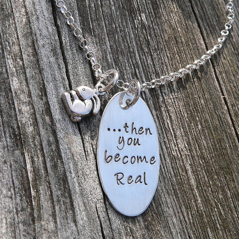 Then you become Real  Velveteen Rabbit Mother's Necklace image 0