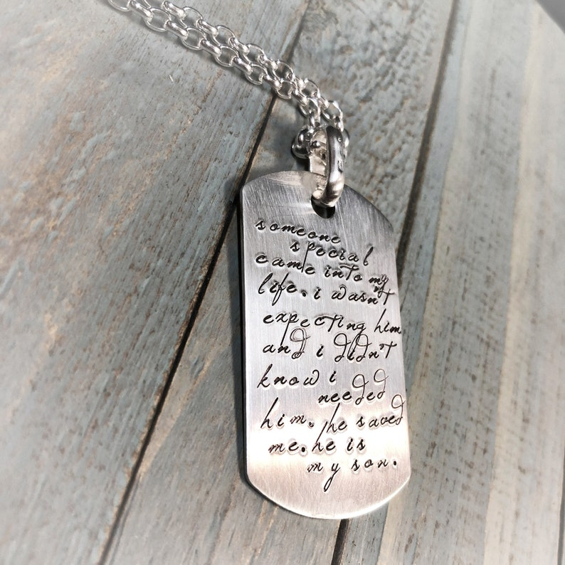 Custom Thick Sterling Silver Men's Dog Tag Dogtag Necklace image 0