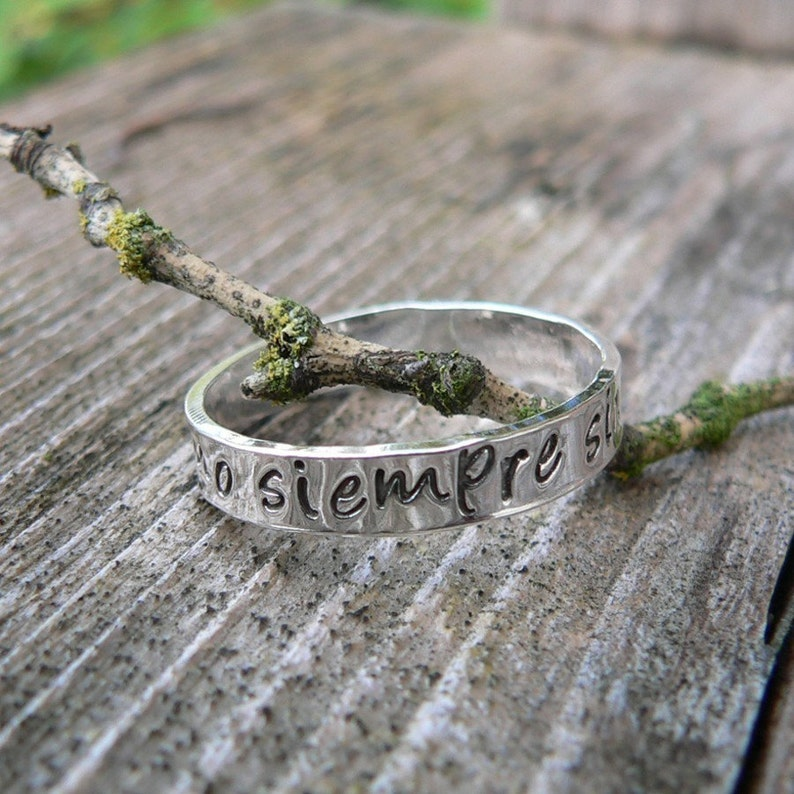 Custom Hand Stamped Ring  Solid Hand-Forged Sterling Silver  image 0