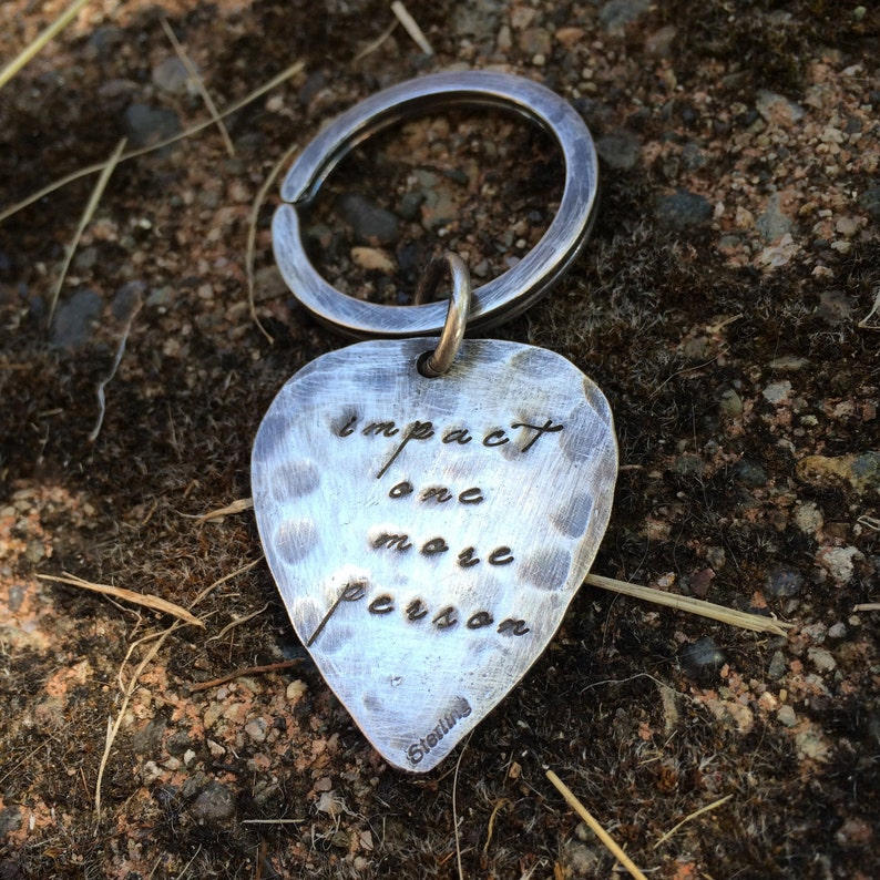 Hand-finished Solid Sterling Silver Guitar Pick Key Ring image 0