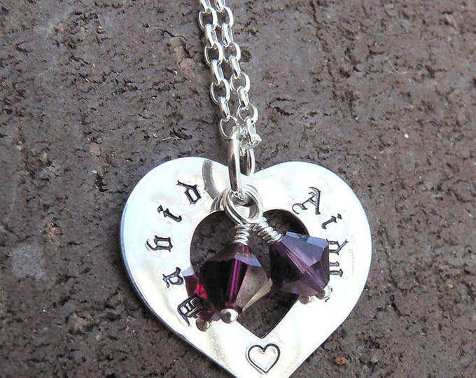 The Mothers Heart - a Customizable Necklace...10 font choices