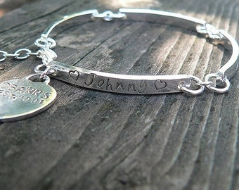 LIMITED TIME SALE Stamped Sterling Silver Hand Hewn Link Bracelet with Heart Charm - Thick - Customize Words, Font - Message Bracelet - Fore