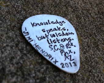 LIMITED TIME SALE Hand-finished Solid Sterling Silver Guitar Pick - Playable - Genuine - You choose font, design and finish - Your message