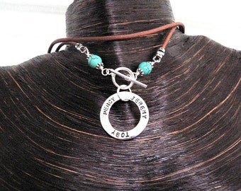 Solid Sterling Silver Circle Necklace Washer Necklace w Turquoise Beads Front Toggle Leather - Hand Stamped Font Choice Names Message Words