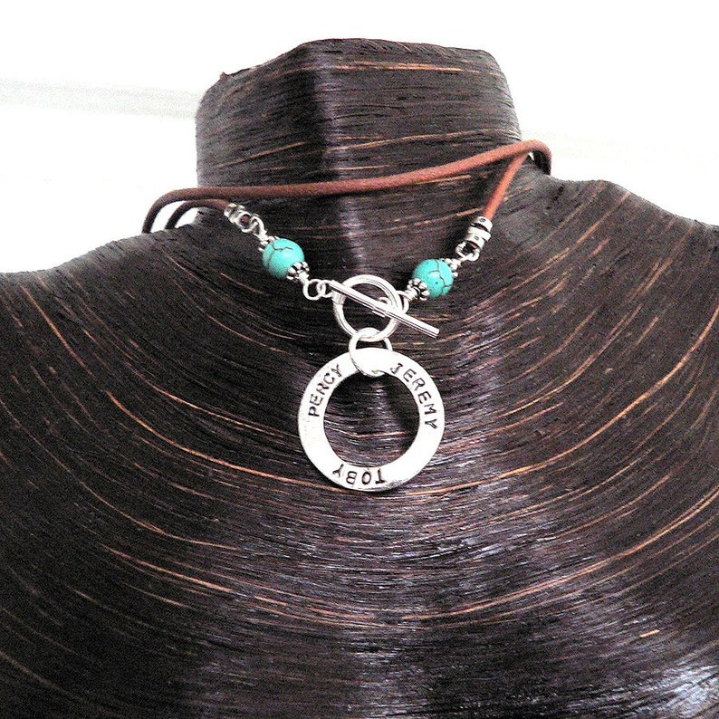 Solid Sterling Silver Circle Necklace Washer Necklace w image 0