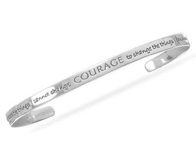 Solid Sterling Silver Serenity Prayer Cuff - Light and Easy to Wear