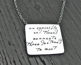 LIMITED TIME SALE An Invisible Red Thread...an Adoption Necklace...Personalized...Solid Sterling Silver Hand Stamped and Red Greek Leather O
