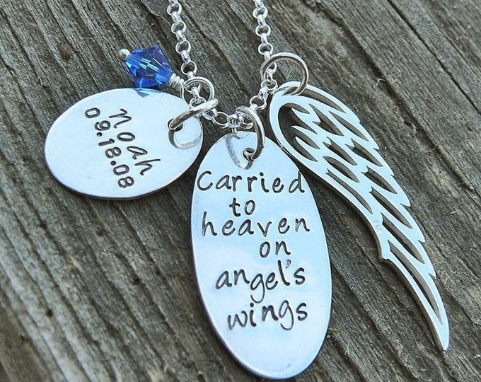 Carried to Heaven on Angel's Wings, Custom Sterling Silver Loss Necklace, Memorial Necklace, Wing Crystal Birthstone, Personal Message Charm