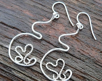 LIMITED TIME SALE Dancing Heart Pregnancy Earrings - Solid sterling silver - Handcrafted & Unique - Midwife, doula or doctor gift - Birth Ne